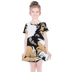 Dog Sitting Pet Collie Animal Kids  Simple Cotton Dress