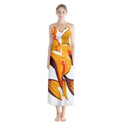 Goldfish Fish Tank Water Tropical Button Up Chiffon Maxi Dress
