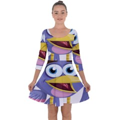 Bird Violet Beak Feather Fun Quarter Sleeve Skater Dress