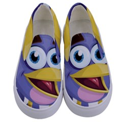 Bird Violet Beak Feather Fun Kids  Canvas Slip Ons