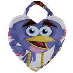 Bird Violet Beak Feather Fun Giant Heart Shaped Tote by Sapixe