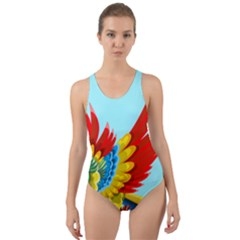 Parrot Animal Bird Wild Zoo Fauna Cut Out Back One Piece Swimsuit by Sapixe