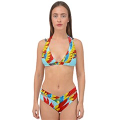 Parrot Animal Bird Wild Zoo Fauna Double Strap Halter Bikini Set by Sapixe