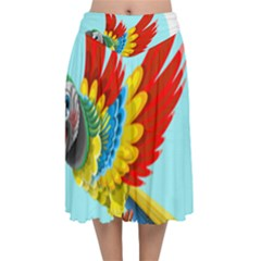 Parrot Animal Bird Wild Zoo Fauna Velvet Flared Midi Skirt