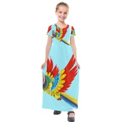 Parrot Animal Bird Wild Zoo Fauna Kids  Short Sleeve Maxi Dress by Sapixe