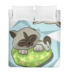 Kitten Kitty Cat Sleeping Sleep Duvet Cover Double Side (full/ Double Size) by Sapixe