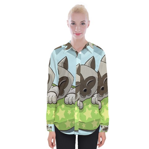 Kitten Kitty Cat Sleeping Sleep Womens Long Sleeve Shirt by Sapixe