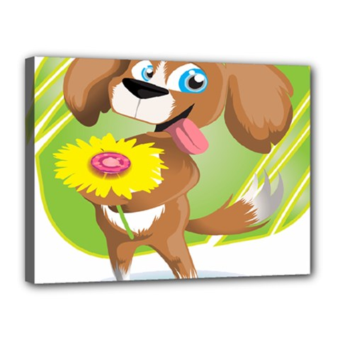 Dog Character Animal Flower Cute Canvas 16  X 12