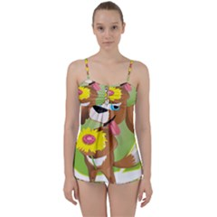 Dog Character Animal Flower Cute Babydoll Tankini Set