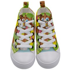 Dog Character Animal Flower Cute Kid s Mid Top Canvas Sneakers