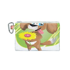 Dog Character Animal Flower Cute Canvas Cosmetic Bag (small) by Sapixe