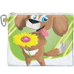 Dog Character Animal Flower Cute Canvas Cosmetic Bag (xxxl)