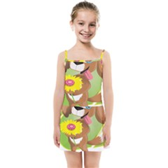 Dog Character Animal Flower Cute Kids Summer Sun Dress