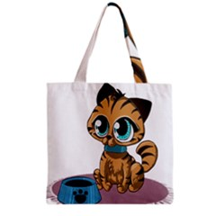 Kitty Cat Big Eyes Ears Animal Grocery Tote Bag by Sapixe