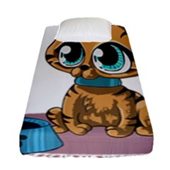 Kitty Cat Big Eyes Ears Animal Fitted Sheet (single Size) by Sapixe