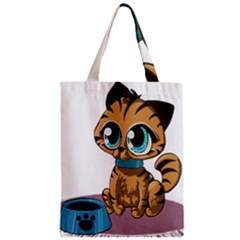 Kitty Cat Big Eyes Ears Animal Zipper Classic Tote Bag by Sapixe