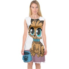 Kitty Cat Big Eyes Ears Animal Capsleeve Midi Dress by Sapixe