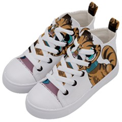 Kitty Cat Big Eyes Ears Animal Kid s Mid Top Canvas Sneakers by Sapixe