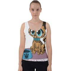 Kitty Cat Big Eyes Ears Animal Velvet Tank Top by Sapixe