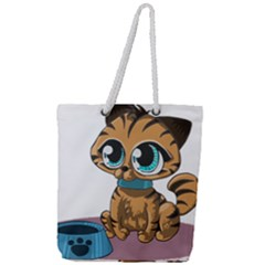 Kitty Cat Big Eyes Ears Animal Full Print Rope Handle Tote (large) by Sapixe