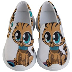 Kitty Cat Big Eyes Ears Animal Kid s Lightweight Slip Ons by Sapixe