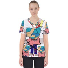 Housewife Multitasking Woman Scrub Top