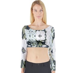 White Vintage Florals Long Sleeve Crop Top