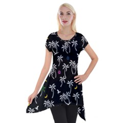 Tropical Pattern Short Sleeve Side Drop Tunic