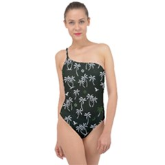 Tropical Pattern Classic One Shoulder Swimsuit