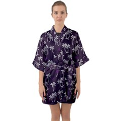 Tropical Pattern Quarter Sleeve Kimono Robe by Valentinaart
