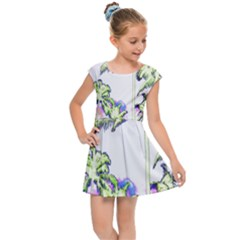 Palm Trees Tropical Beach Scenes Coastal Sketch Colored Neon Kids Cap Sleeve Dress