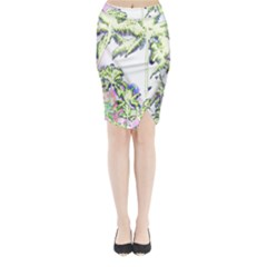 Palm Trees Tropical Beach Scenes Coastal Sketch Colored Neon Midi Wrap Pencil Skirt