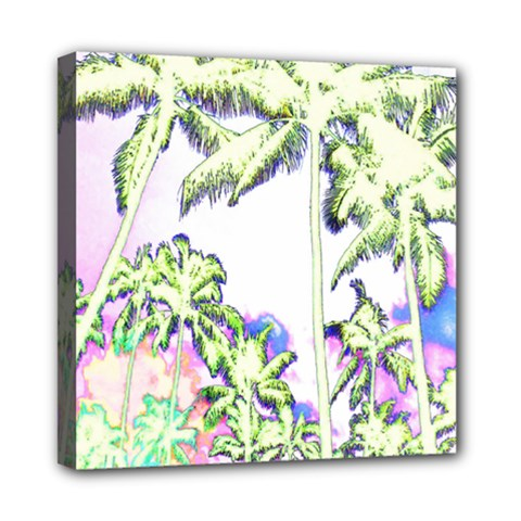 Palm Trees Tropical Beach Scenes Coastal Sketch Colored Neon Mini Canvas 8  X 8  by CrypticFragmentsColors