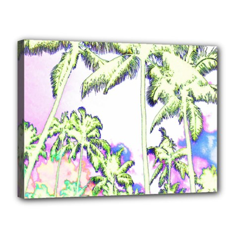 Palm Trees Tropical Beach Scenes Coastal Sketch Colored Neon Canvas 16  X 12  by CrypticFragmentsColors