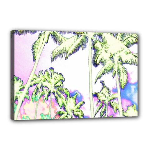 Palm Trees Tropical Beach Scenes Coastal Sketch Colored Neon Canvas 18  X 12  by CrypticFragmentsColors