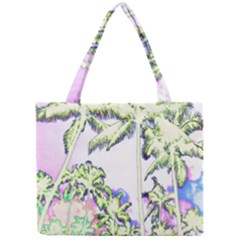 Palm Trees Tropical Beach Scenes Coastal Sketch Colored Neon Mini Tote Bag by CrypticFragmentsColors