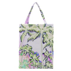 Palm Trees Tropical Beach Scenes Coastal Sketch Colored Neon Classic Tote Bag by CrypticFragmentsColors