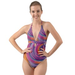 Purple Circles Swirls Halter Cut Out One Piece Swimsuit