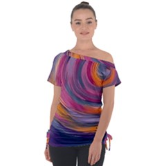 Purple Circles Swirls Tie Up Tee