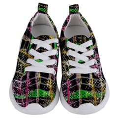Pink Green Paint Battle And Black Lightning  Zigzag Kids  Lightweight Sports Shoes