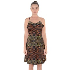 Brown And Gold Aztec Design  Ruffle Detail Chiffon Dress