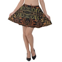 Brown And Gold Aztec Design  Velvet Skater Skirt