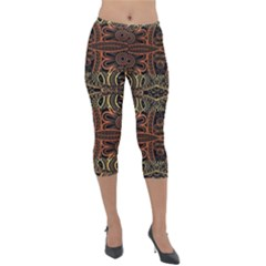 Brown And Gold Aztec Design  Lightweight Velour Capri Leggings