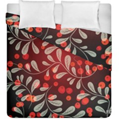 Beautiful Black And Red Florals  Duvet Cover Double Side (king Size) by flipstylezdes