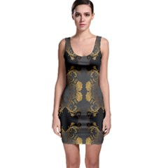 Beautiful Black And Gold Seamless Floral  Bodycon Dress