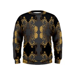 Beautiful Black And Gold Seamless Floral  Kids  Sweatshirt
