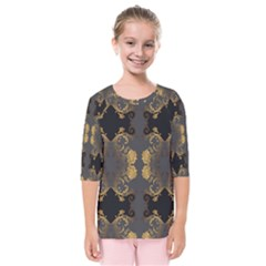 Beautiful Black And Gold Seamless Floral  Kids  Quarter Sleeve Raglan Tee