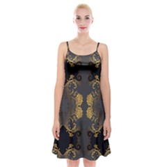 Beautiful Black And Gold Seamless Floral  Spaghetti Strap Velvet Dress by flipstylezdes