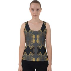 Beautiful Black And Gold Seamless Floral  Velvet Tank Top