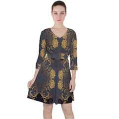 Beautiful Black And Gold Seamless Floral  Ruffle Dress